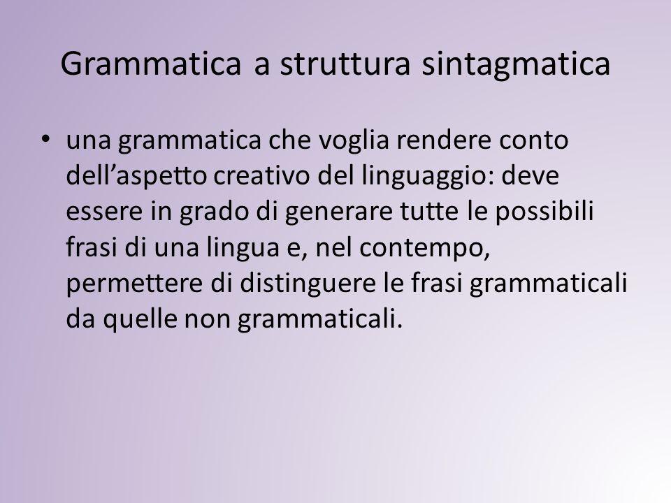 Grammatica a struttura sintagmatica una grammatica che voglia rendere conto dell'aspetto creativo del linguaggio: deve essere in grado di generare tutte le possibili frasi di una lingua e, nel contempo, permettere di distinguere le frasi grammaticali da quelle non grammaticali.