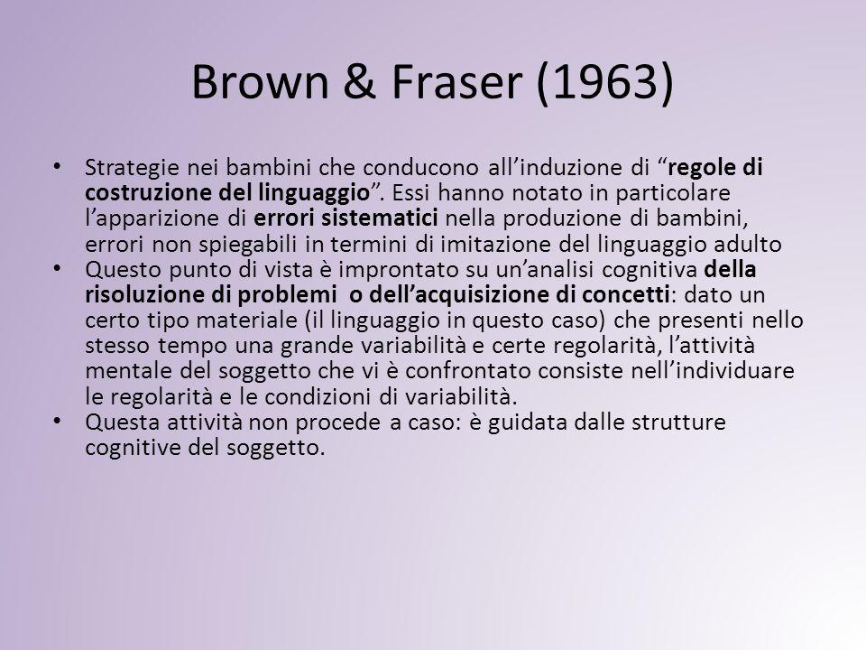 Brown & Fraser (1963) Strategie nei bambini che conducono all'induzione di regole di costruzione del linguaggio .