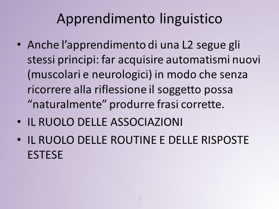 Apprendimento linguistico Anche l'apprendimento di una L2 segue gli stessi principi: far acquisire automatismi nuovi (muscolari e neurologici) in modo che senza ricorrere alla riflessione il soggetto possa naturalmente produrre frasi corrette.