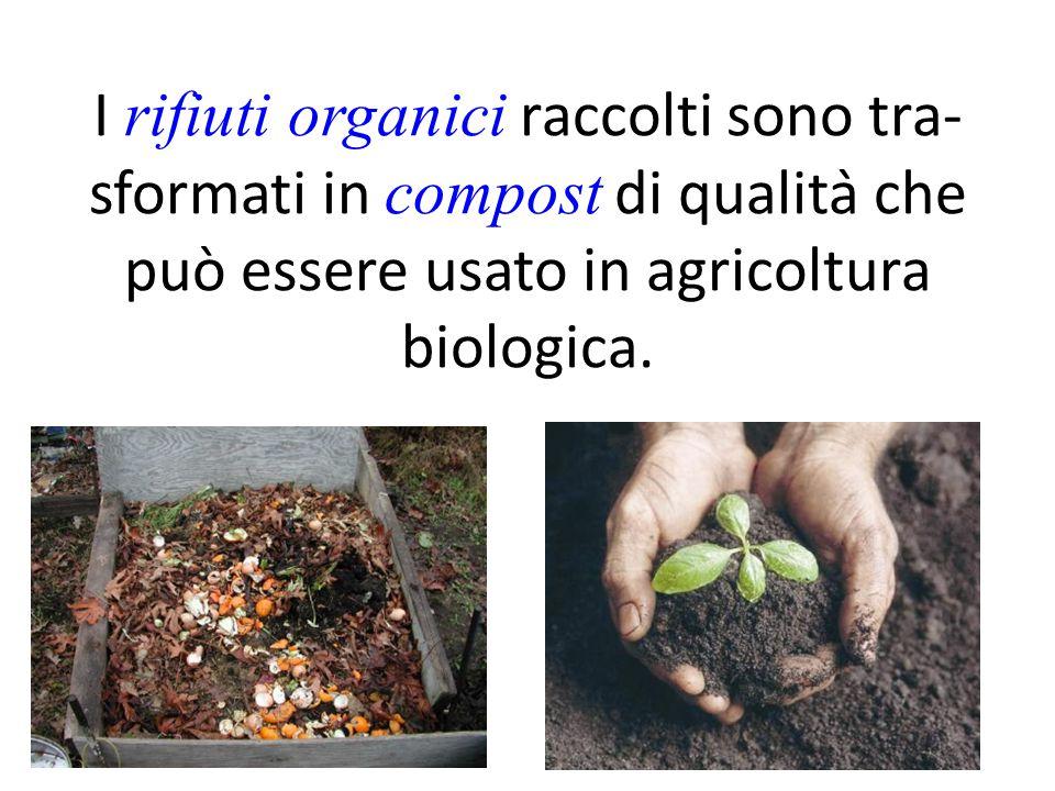 I rifiuti organici raccolti sono tra- sformati in compost di qualità che può essere usato in agricoltura biologica.