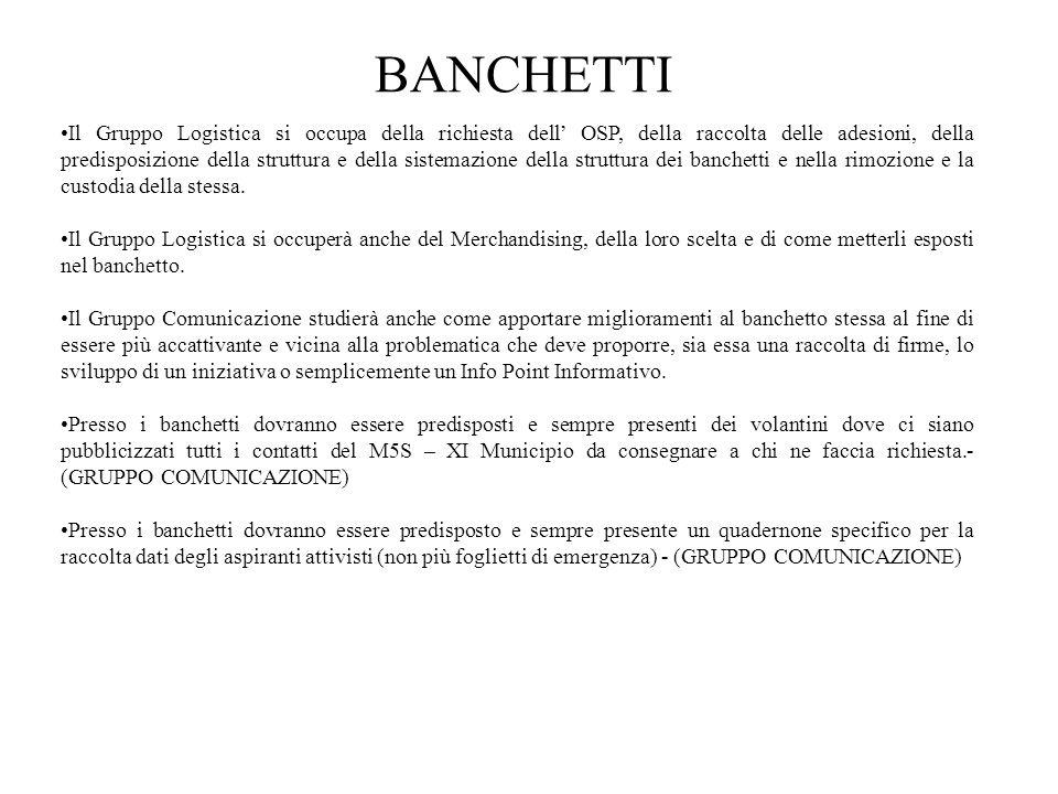 BANCHETTI Il Gruppo Logistica si occupa della richiesta dell' OSP, della raccolta delle adesioni, della predisposizione della struttura e della sistem