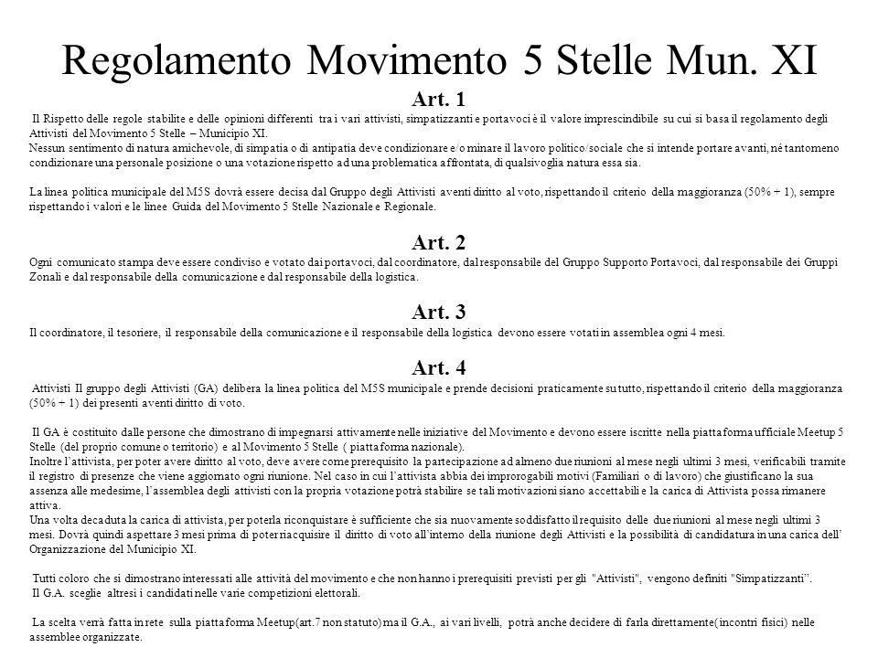 Regolamento Movimento 5 Stelle Mun. XI Art. 1 Il Rispetto delle regole stabilite e delle opinioni differenti tra i vari attivisti, simpatizzanti e por