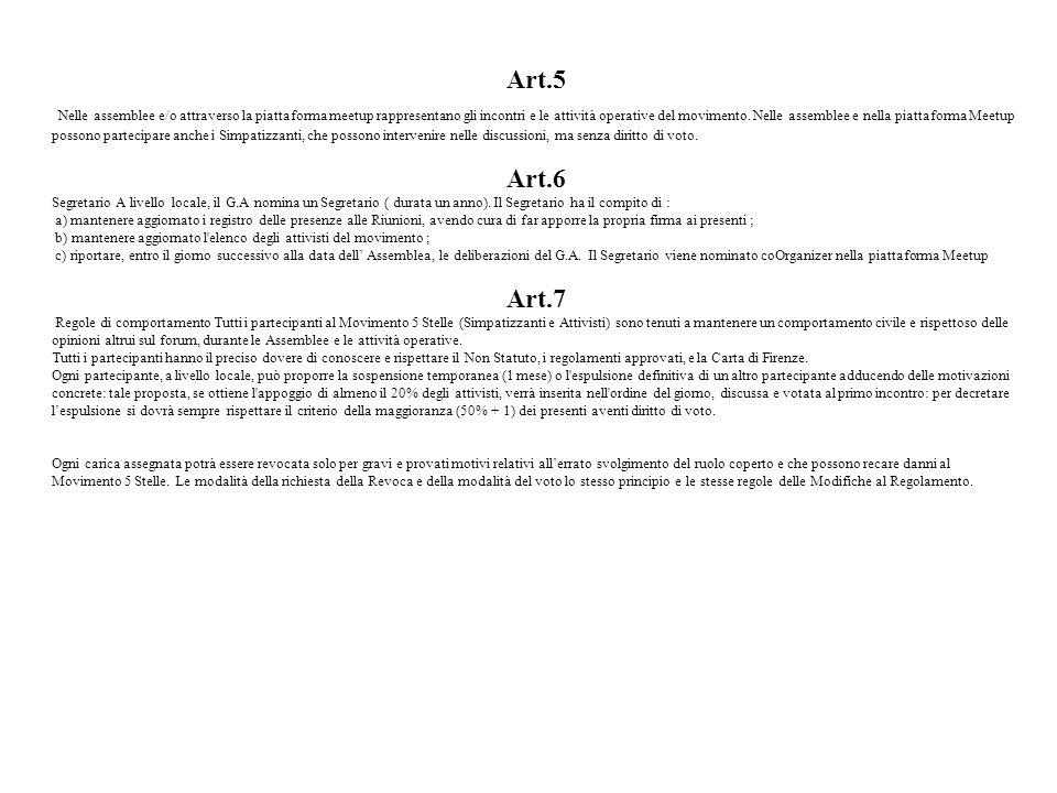 Art.5 Nelle assemblee e/o attraverso la piattaforma meetup rappresentano gli incontri e le attività operative del movimento. Nelle assemblee e nella p