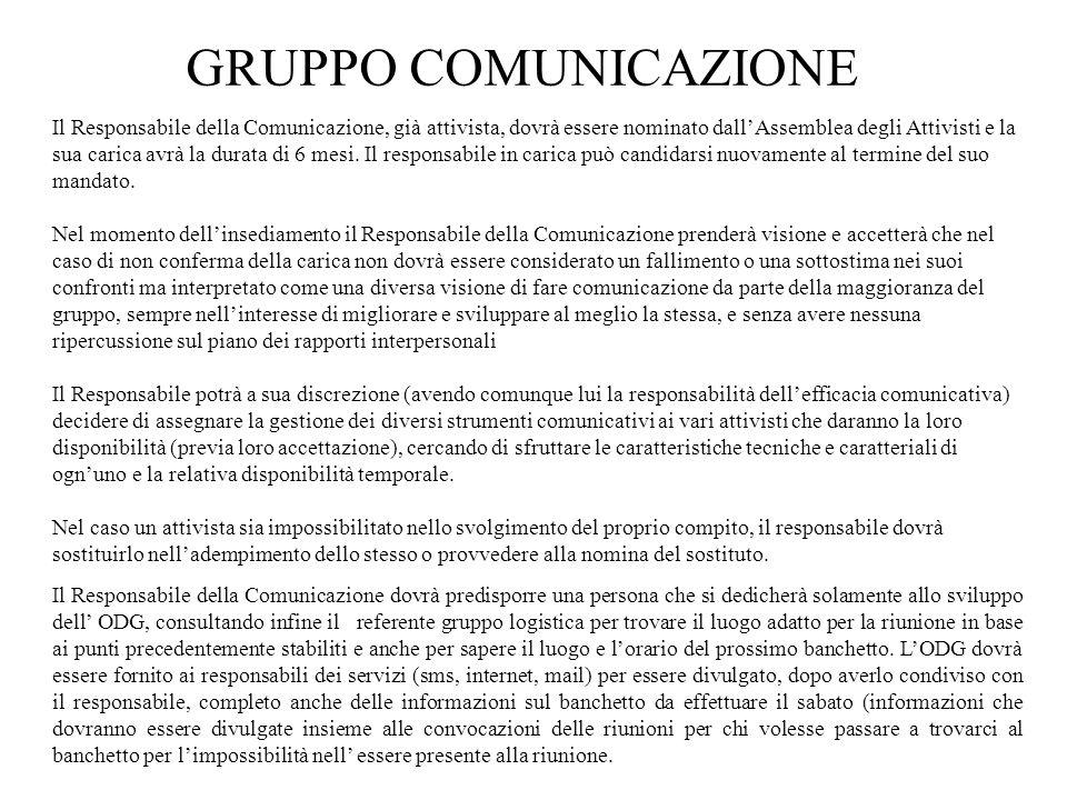 GRUPPO COMUNICAZIONE Il Responsabile della Comunicazione, già attivista, dovrà essere nominato dall'Assemblea degli Attivisti e la sua carica avrà la