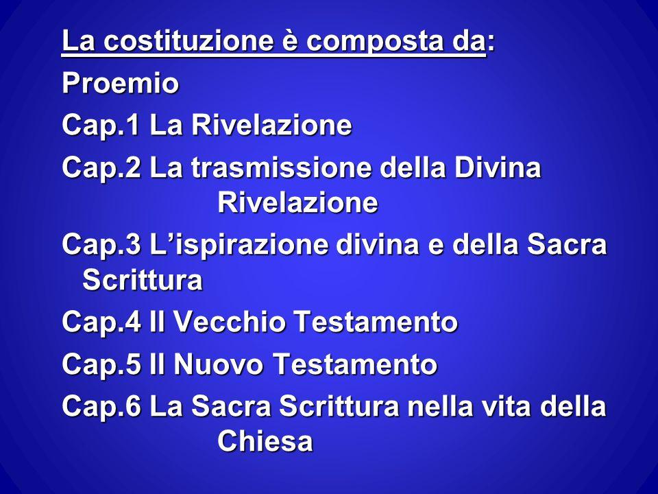 La costituzione è composta da: Proemio Cap.1 La Rivelazione Cap.2 La trasmissione della Divina Rivelazione Cap.3 L'ispirazione divina e della Sacra Sc