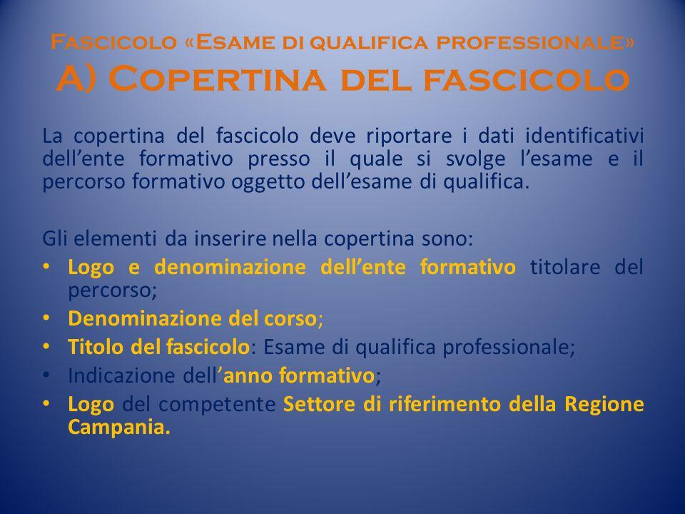 Fascicolo «Esame di qualifica professionale» A) Copertina del fascicolo La copertina del fascicolo deve riportare i dati identificativi dell'ente formativo presso il quale si svolge l'esame e il percorso formativo oggetto dell'esame di qualifica.
