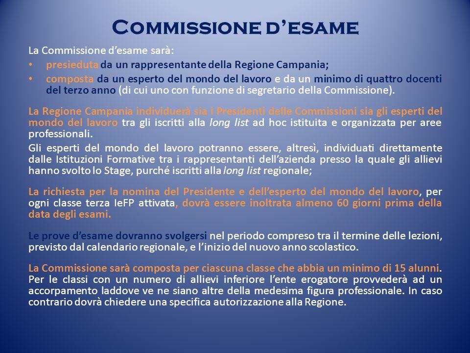 Commissione d'esame La Commissione d'esame sarà: presieduta da un rappresentante della Regione Campania; composta da un esperto del mondo del lavoro e da un minimo di quattro docenti del terzo anno (di cui uno con funzione di segretario della Commissione).