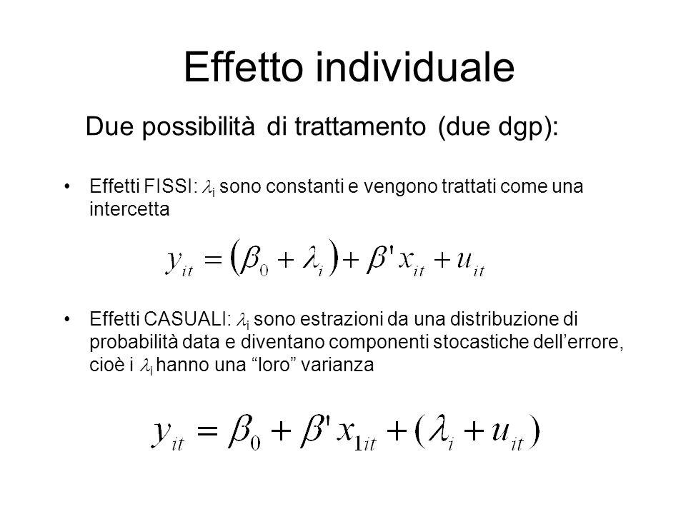 Effetto individuale Effetti FISSI: i sono constanti e vengono trattati come una intercetta Effetti CASUALI: i sono estrazioni da una distribuzione di