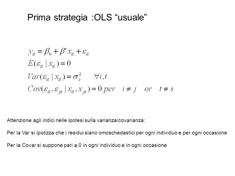 """Prima strategia :OLS """"usuale"""" Attenzione agli indici nelle ipotesi sulla varianza/covarianza: Per la Var si ipotizza che i residui siano omoschedastic"""