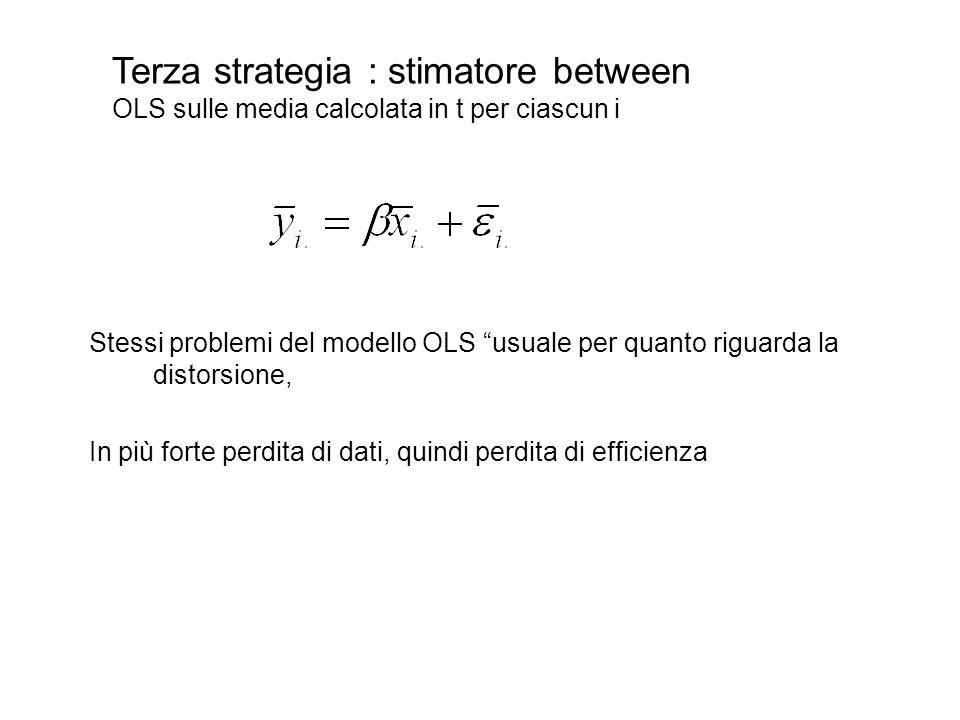 """Stessi problemi del modello OLS """"usuale per quanto riguarda la distorsione, In più forte perdita di dati, quindi perdita di efficienza Terza strategia"""
