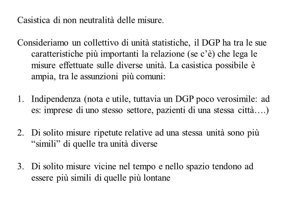 Casistica di non neutralità delle misure. Consideriamo un collettivo di unità statistiche, il DGP ha tra le sue caratteristiche più importanti la rela