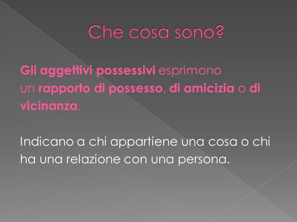 Gli aggettivi possessivi esprimono un rapporto di possesso, di amicizia o di vicinanza. Indicano a chi appartiene una cosa o chi ha una relazione con