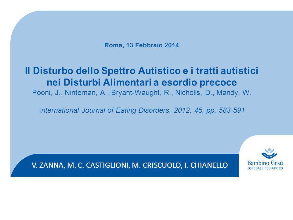V. ZANNA, M. C. CASTIGLIONI, M. CRISCUOLO, I. CHIANELLO Roma, 13 Febbraio 2014 Il Disturbo dello Spettro Autistico e i tratti autistici nei Disturbi A