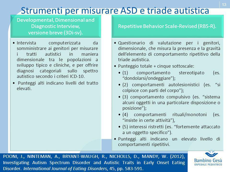 13 Strumenti per misurare ASD e triade autistica Developmental, Dimensional and Diagnostic Interview, versione breve (3Di-sv). Intervista computerizza