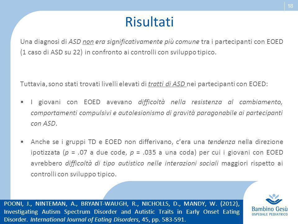 18 Risultati Una diagnosi di ASD non era significativamente più comune tra i partecipanti con EOED (1 caso di ASD su 22) in confronto ai controlli con