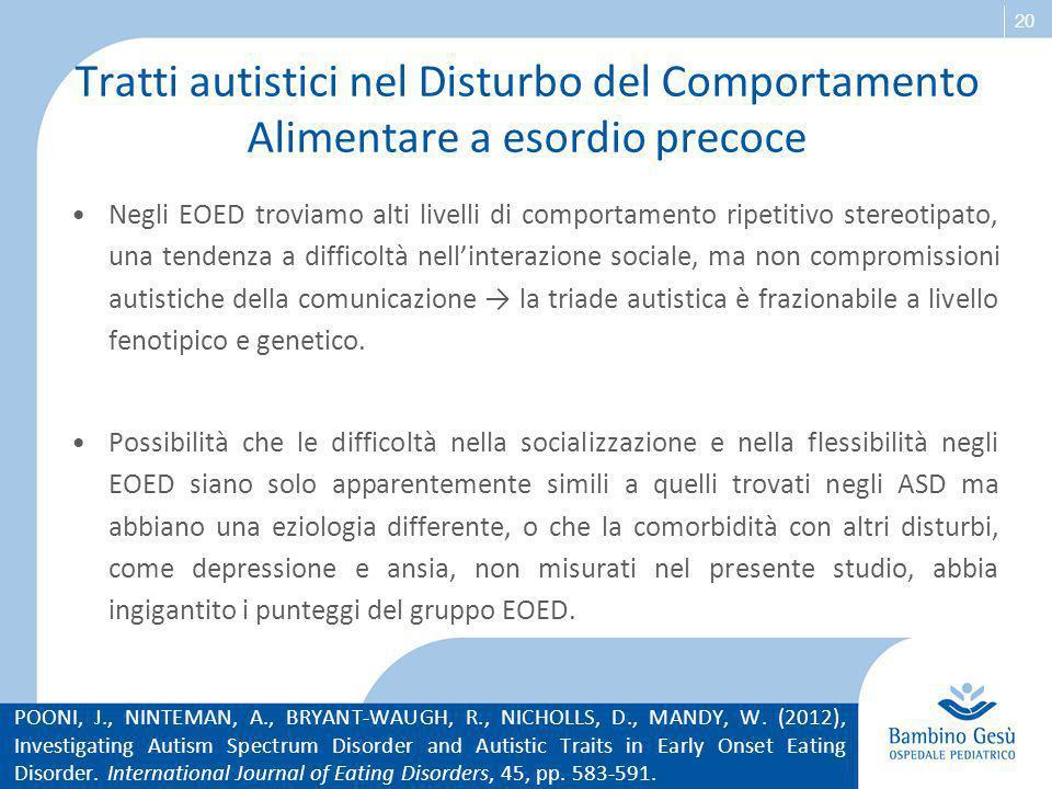 20 Tratti autistici nel Disturbo del Comportamento Alimentare a esordio precoce Negli EOED troviamo alti livelli di comportamento ripetitivo stereotip