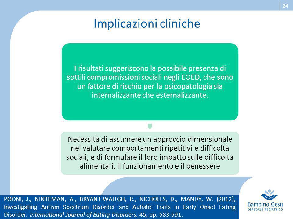 24 Implicazioni cliniche I risultati suggeriscono la possibile presenza di sottili compromissioni sociali negli EOED, che sono un fattore di rischio p