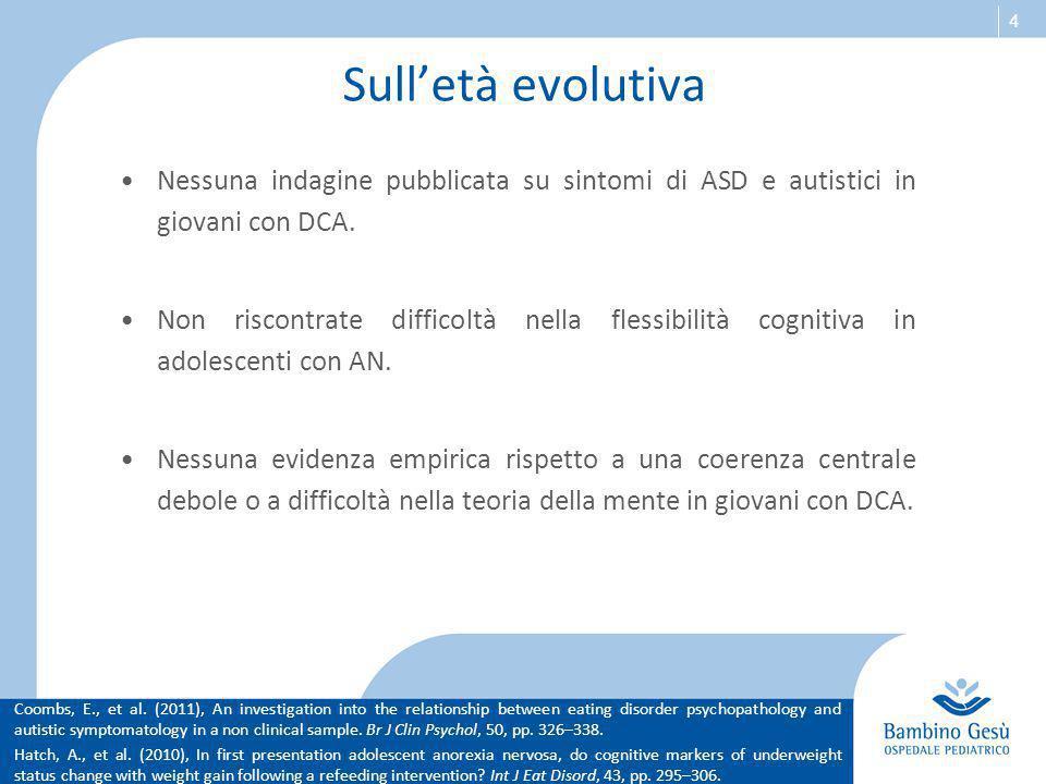 4 Sull'età evolutiva Nessuna indagine pubblicata su sintomi di ASD e autistici in giovani con DCA. Non riscontrate difficoltà nella flessibilità cogni