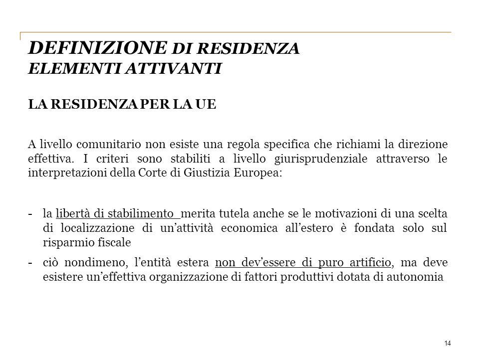14 LA RESIDENZA PER LA UE A livello comunitario non esiste una regola specifica che richiami la direzione effettiva. I criteri sono stabiliti a livell