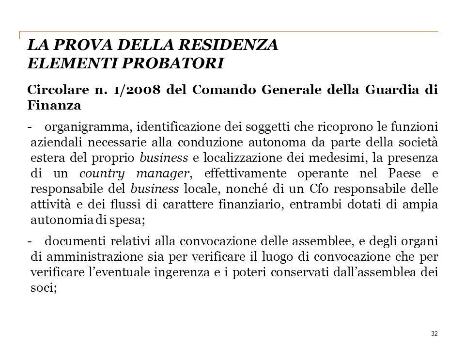 32 Circolare n. 1/2008 del Comando Generale della Guardia di Finanza -organigramma, identificazione dei soggetti che ricoprono le funzioni aziendali n