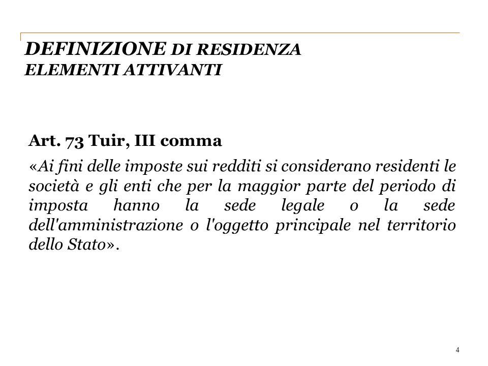 DEFINIZIONE DI RESIDENZA ELEMENTI ATTIVANTI 4 Art.