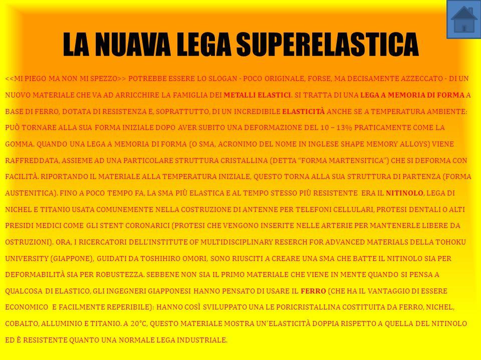 LA NUAVA LEGA SUPERELASTICA > POTREBBE ESSERE LO SLOGAN - POCO ORIGINALE, FORSE, MA DECISAMENTE AZZECCATO - DI UN NUOVO MATERIALE CHE VA AD ARRICCHIRE