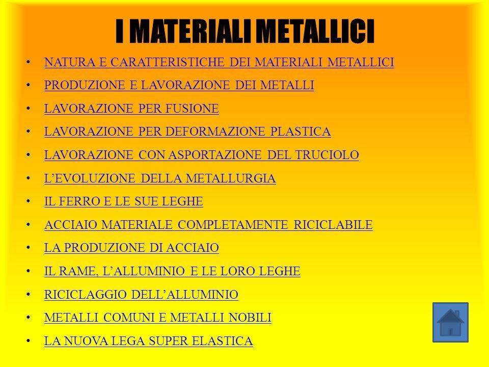 I MATERIALI METALLICI NATURA E CARATTERISTICHE DEI MATERIALI METALLICI PRODUZIONE E LAVORAZIONE DEI METALLI LAVORAZIONE PER FUSIONE LAVORAZIONE PER DE