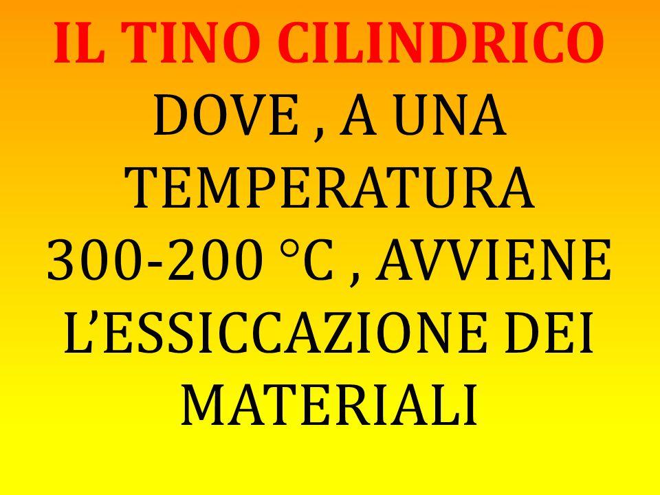 IL TINO CILINDRICO DOVE, A UNA TEMPERATURA 300-200 °C, AVVIENE L'ESSICCAZIONE DEI MATERIALI