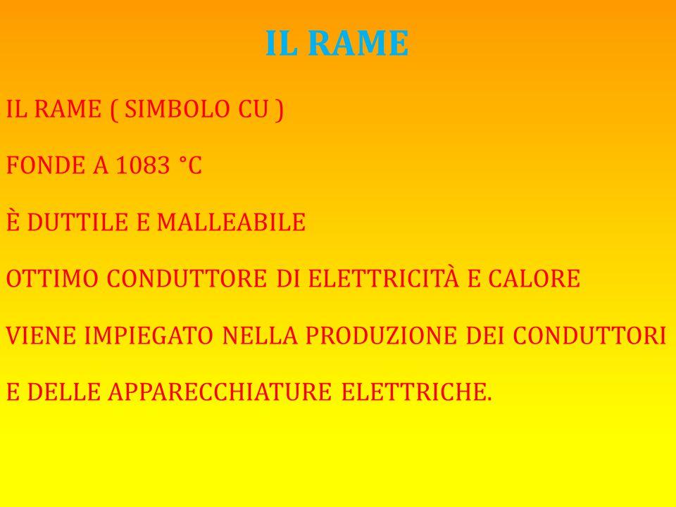 IL RAME IL RAME ( SIMBOLO CU ) FONDE A 1083 °C È DUTTILE E MALLEABILE OTTIMO CONDUTTORE DI ELETTRICITÀ E CALORE VIENE IMPIEGATO NELLA PRODUZIONE DEI C