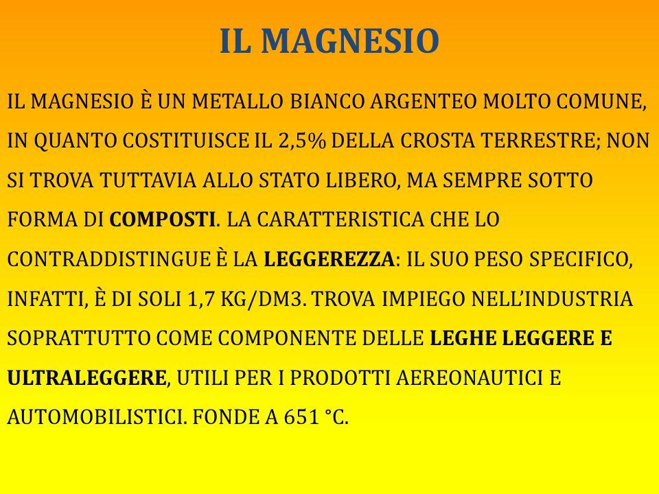 IL MAGNESIO IL MAGNESIO È UN METALLO BIANCO ARGENTEO MOLTO COMUNE, IN QUANTO COSTITUISCE IL 2,5% DELLA CROSTA TERRESTRE; NON SI TROVA TUTTAVIA ALLO ST