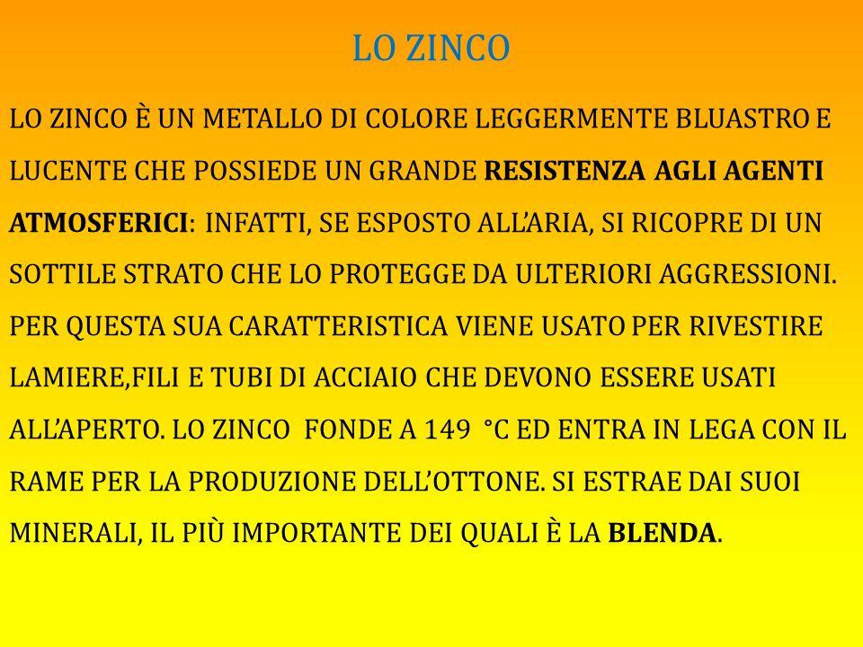 LO ZINCO LO ZINCO È UN METALLO DI COLORE LEGGERMENTE BLUASTRO E LUCENTE CHE POSSIEDE UN GRANDE RESISTENZA AGLI AGENTI ATMOSFERICI: INFATTI, SE ESPOSTO