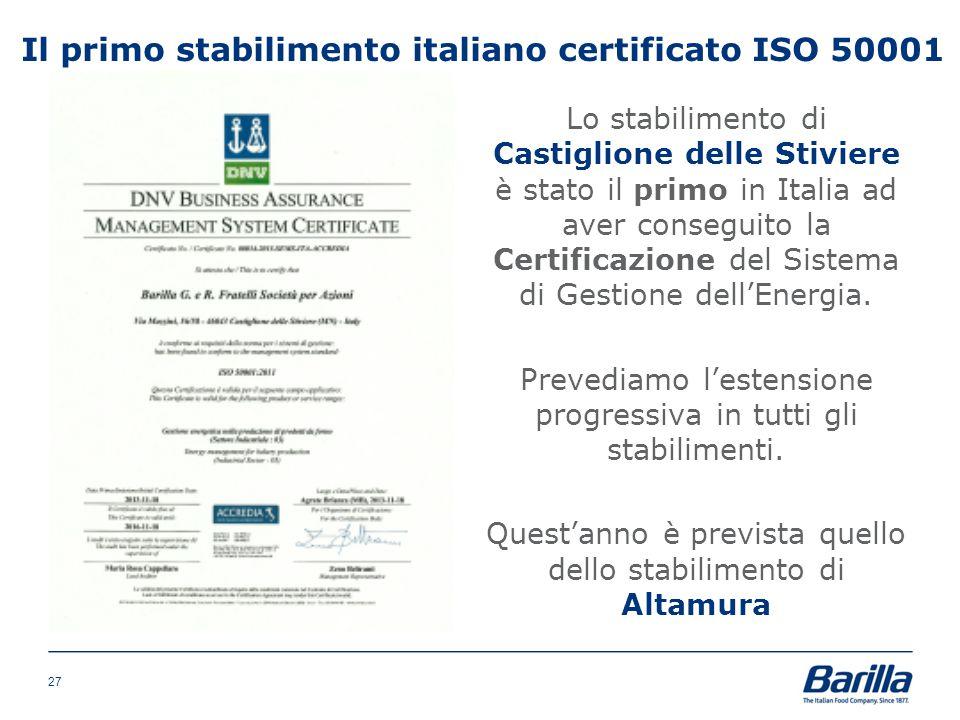 Il primo stabilimento italiano certificato ISO 50001 27 Lo stabilimento di Castiglione delle Stiviere è stato il primo in Italia ad aver conseguito la