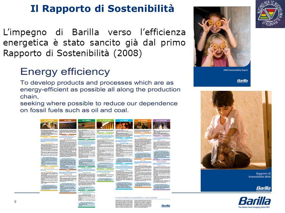 Il Rapporto di Sostenibilità L'impegno di Barilla verso l'efficienza energetica è stato sancito già dal primo Rapporto di Sostenibilità (2008) 9