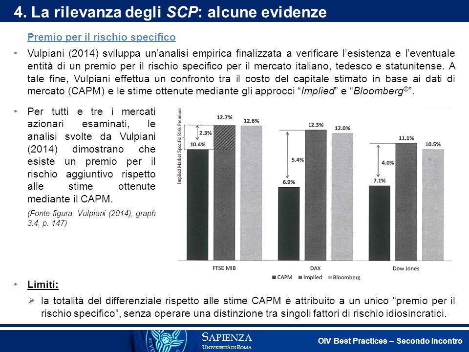 Premio per il rischio specifico Vulpiani (2014) sviluppa un'analisi empirica finalizzata a verificare l'esistenza e l'eventuale entità di un premio pe