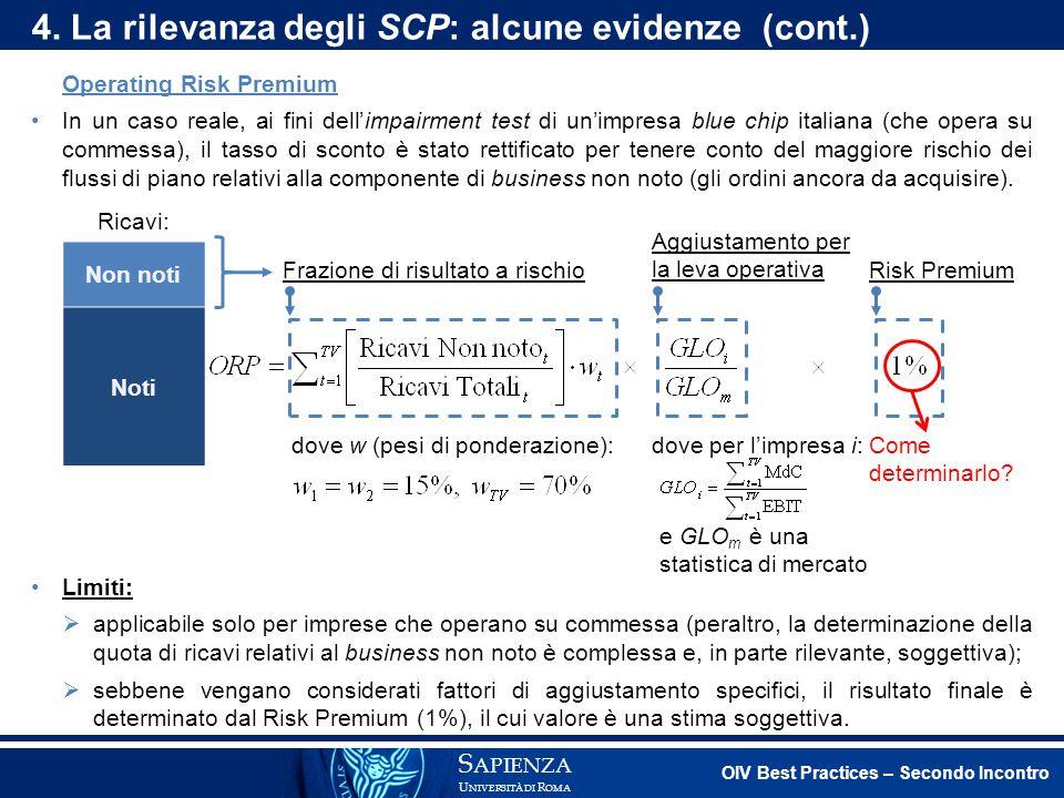 Operating Risk Premium In un caso reale, ai fini dell'impairment test di un'impresa blue chip italiana (che opera su commessa), il tasso di sconto è s