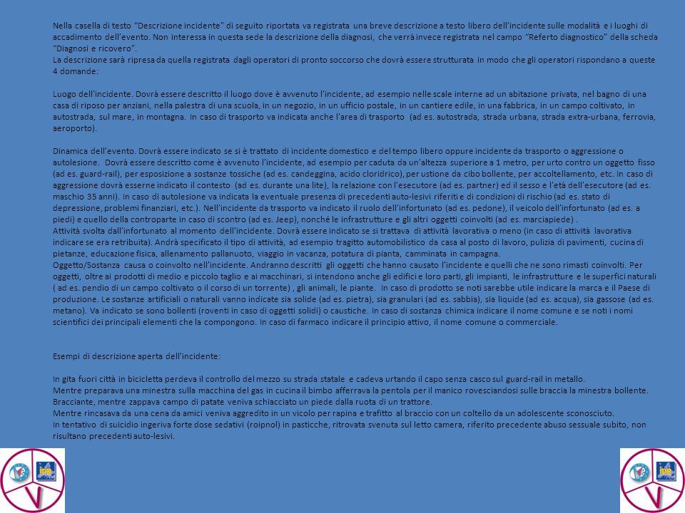 Nella casella di testo Descrizione incidente di seguito riportata va registrata una breve descrizione a testo libero dell'incidente sulle modalità e i luoghi di accadimento dell'evento.