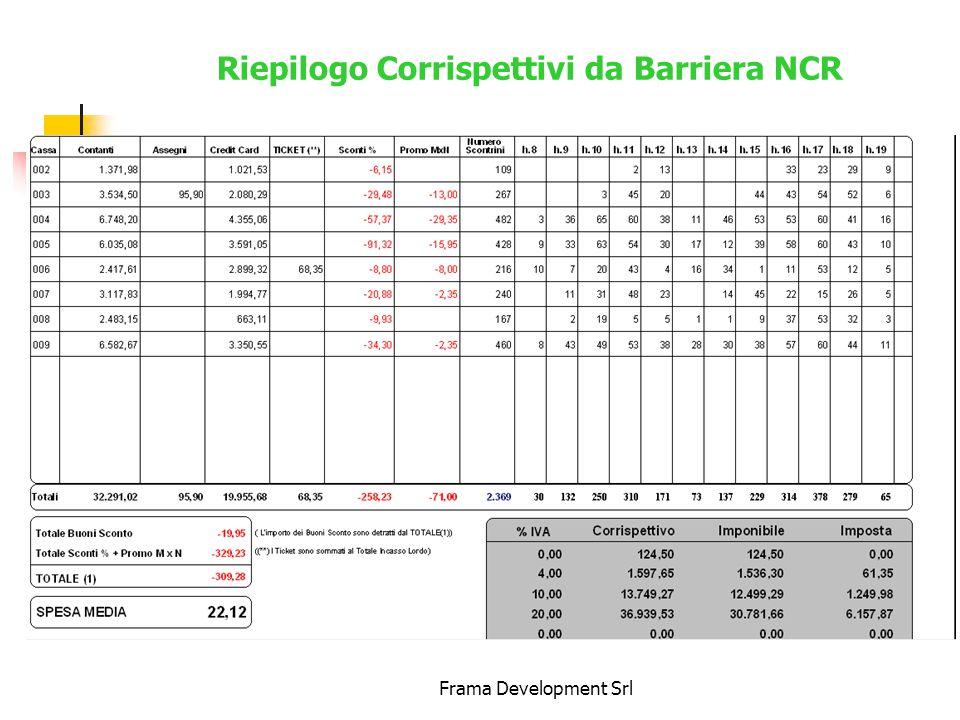 Frama Development Srl Riepilogo Corrispettivi da Barriera NCR