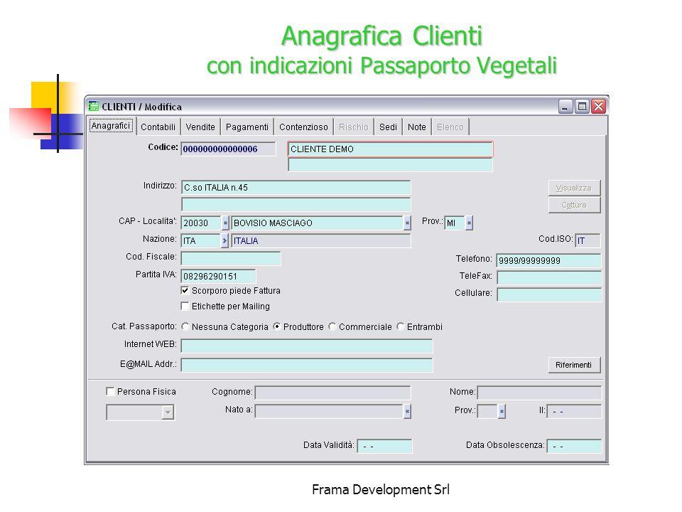 Frama Development Srl AnagraficaFornitori Anagrafica Fornitori con indicazioni Passaporto Vegetali e Socio Cooperativa