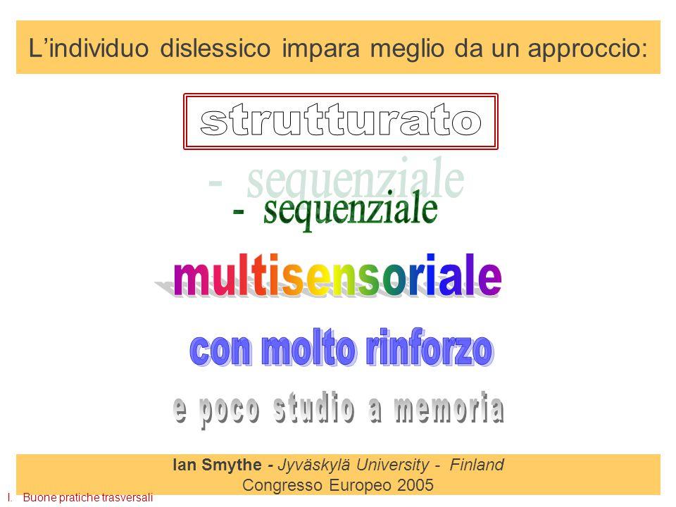 L'individuo dislessico impara meglio da un approccio: Ian Smythe - Jyväskylä University - Finland Congresso Europeo 2005 I.