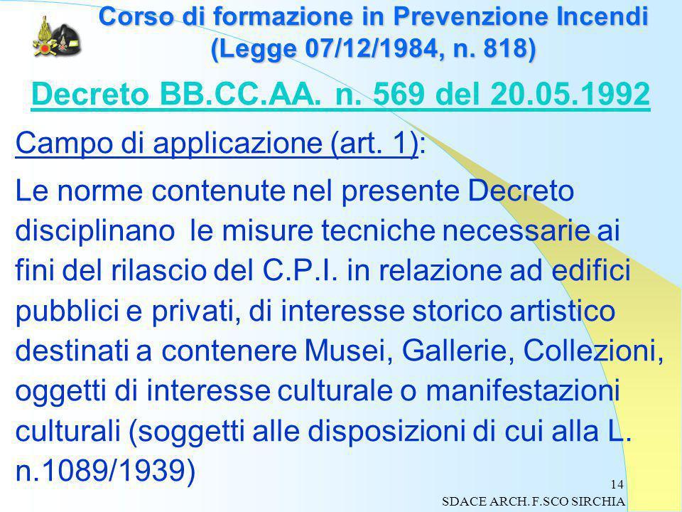 14 Corso di formazione in Prevenzione Incendi (Legge 07/12/1984, n.