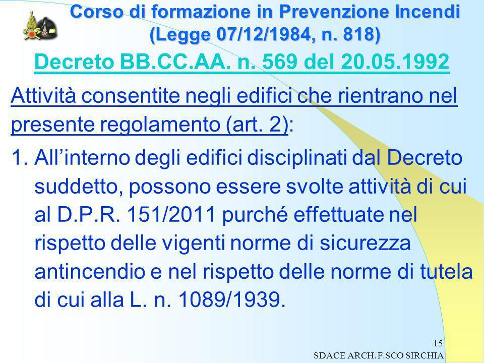 15 Corso di formazione in Prevenzione Incendi (Legge 07/12/1984, n.