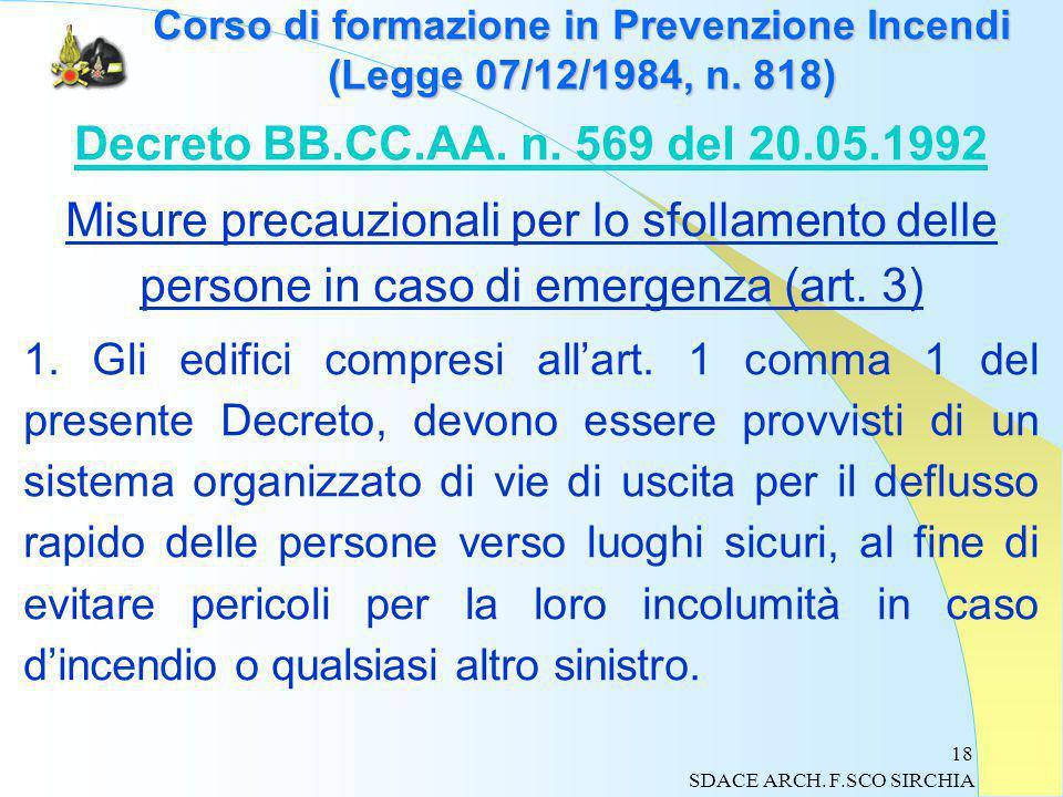 18 Corso di formazione in Prevenzione Incendi (Legge 07/12/1984, n.
