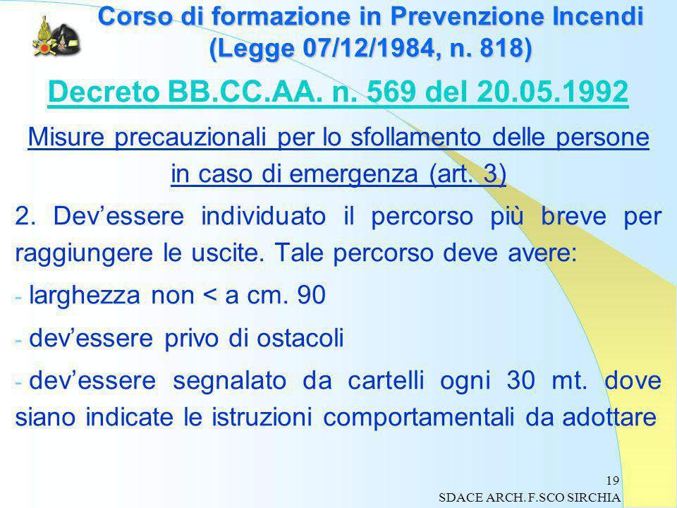 19 Corso di formazione in Prevenzione Incendi (Legge 07/12/1984, n.