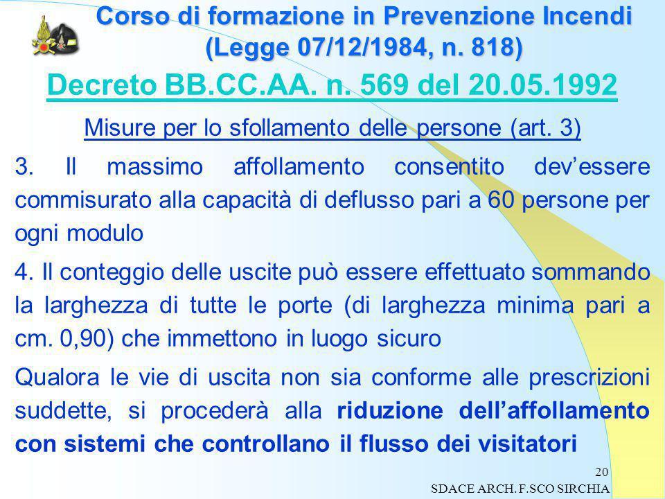 20 Corso di formazione in Prevenzione Incendi (Legge 07/12/1984, n.