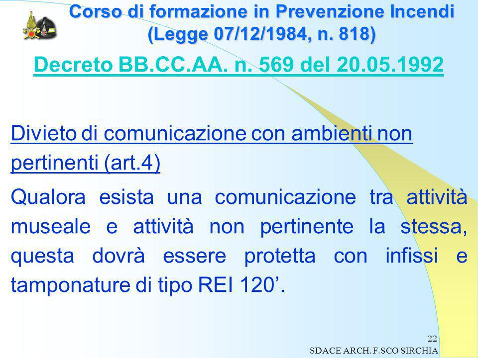 22 Corso di formazione in Prevenzione Incendi (Legge 07/12/1984, n.