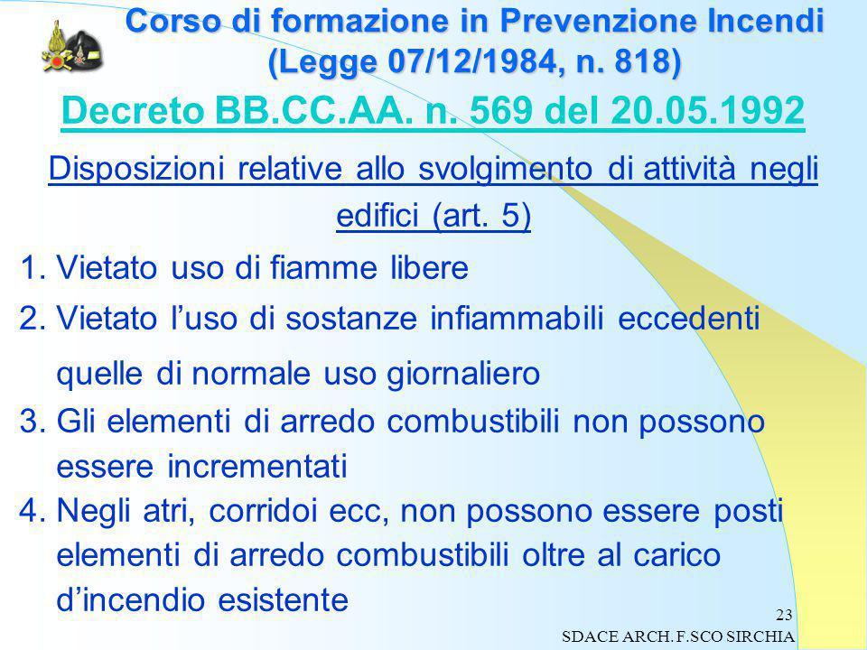23 Corso di formazione in Prevenzione Incendi (Legge 07/12/1984, n.