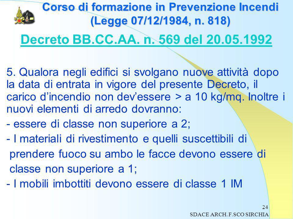 24 Corso di formazione in Prevenzione Incendi (Legge 07/12/1984, n.