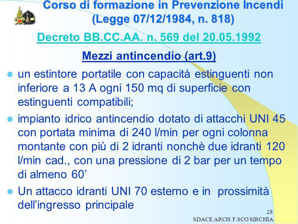 28 Corso di formazione in Prevenzione Incendi (Legge 07/12/1984, n.