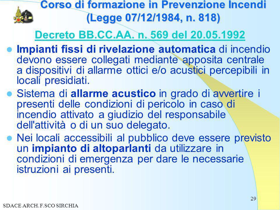 29 Corso di formazione in Prevenzione Incendi (Legge 07/12/1984, n.
