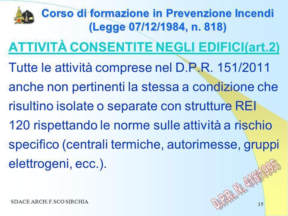 35 Corso di formazione in Prevenzione Incendi (Legge 07/12/1984, n.